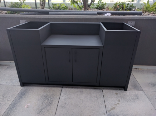 BBQ cabinetry in stainless powdercoated black