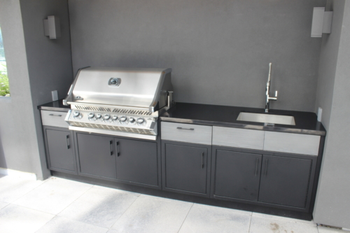 BBQ cabinetry in stainless steel between black powdercoating