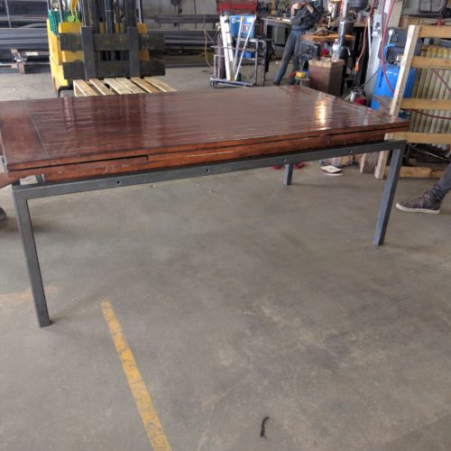 Dining table base with black oxide finish