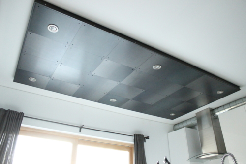 Hot rolled steel plate ceiling feature
