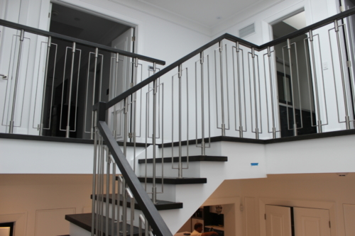Stainless steel railings w hickory hand rail
