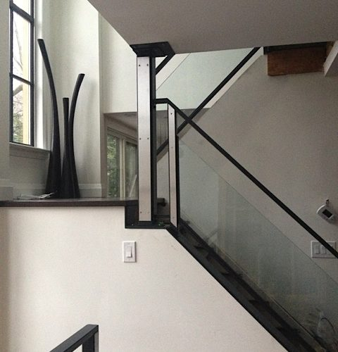 Steel support post + railings with aluminum decorative side plates